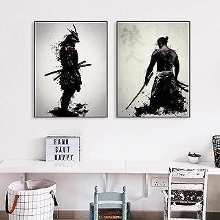 VCFHU Ronin Samurai Lienzo Pinturas Figura Arte De La Pared Impresiones En Blanco Y Negro Poster Samurai Cuadros Salon De ...