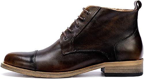 ZHRUI Stiefel Chukka de Cuero Genuino con Cordones para herren Stiefel duraderas con Suela Blanda Antideslizante (Farbe   braun, tamaño   EU 44)