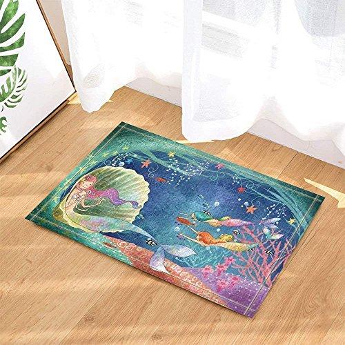 zhangqiuping Mystérieux Bleu Mer Eau Vert Coquille Belle Sirène Rose Jaune StarfishBathroom Tapis Antidérapant Antidérapant Plancher Intérieur Tapis De Porte D'entrée Intérieur Enfants 15.7X26.3IN