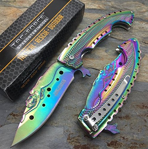 The Best Tac Force Rainbow Titanium Coated blade w/ Stamped Mermaid Design Fantasy Knife