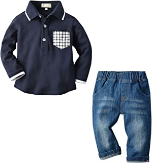Baby Boys Outfit, Polo Shirt + Denim Jeans, 12 Months - 5 Years