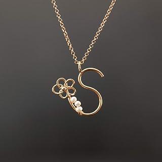 Personalizado rosa monograma de oro colgante, collar de oro rosa inicial, regalo de Dama de honor, rosa collar de Letras de oro, encanto personalizado