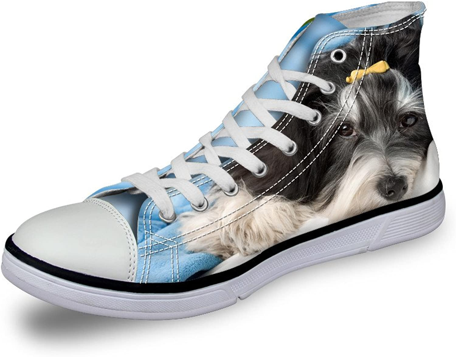 Nopersonality Cute Pet Dog Cat Prints Canvas High Top Trainers Women