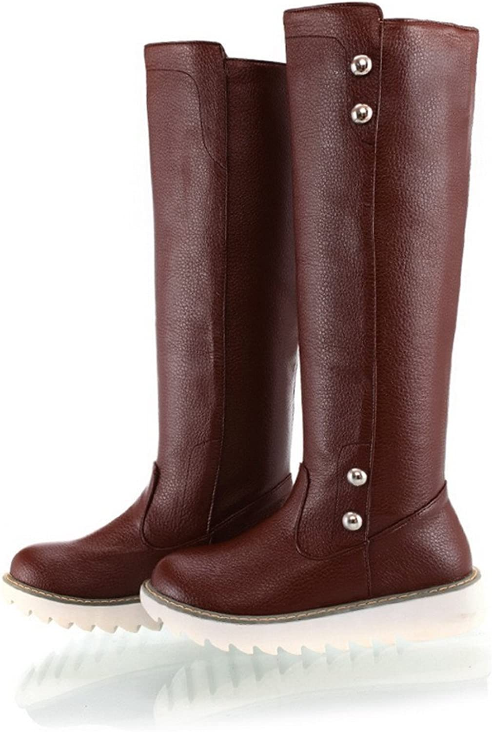 WeenFashion Womens Closed Round Toe Low Heel Cotton PU Soft Material Solid Boots, Brown, 10.5 B(M) US