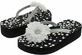 fbb0eb55f Capelli New York Glitter Thong with Flower On Polkadot Print Girls Flip  Flops