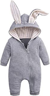 Dressystar Kids Unisex Baby Boy Girl Romper Cotton Bodysuits Bunny Baby Pajamas Baby Clothes for 0-18 Months