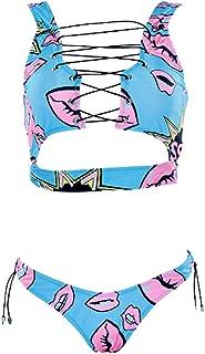 tengweng Women's African Print Two Piece Lace up Bikini Set High Cut Thong Swimsuit