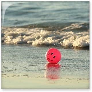 Playa de arena Océano cara sonriente Emoji imagen cerámica crema decoración de azulejos baño cocina azulejos