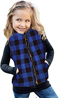 Ivay Girls Buffalo Cotton Plaid Quilted Vest Cute Puff Lined Gilet Blue
