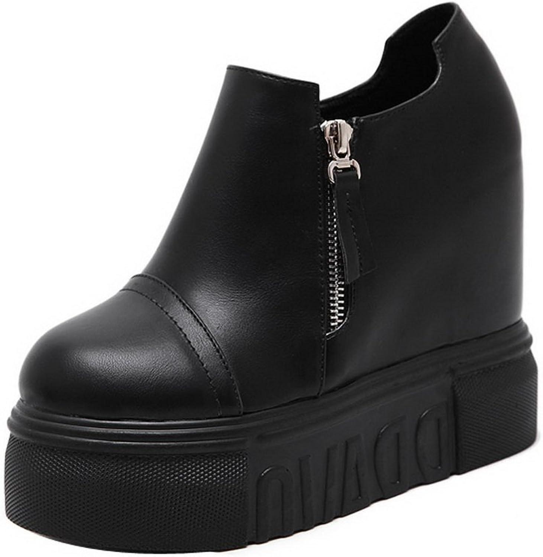 Ladola Womens Wedge Zipper Round-Toe Casual Platform Urethane Boots