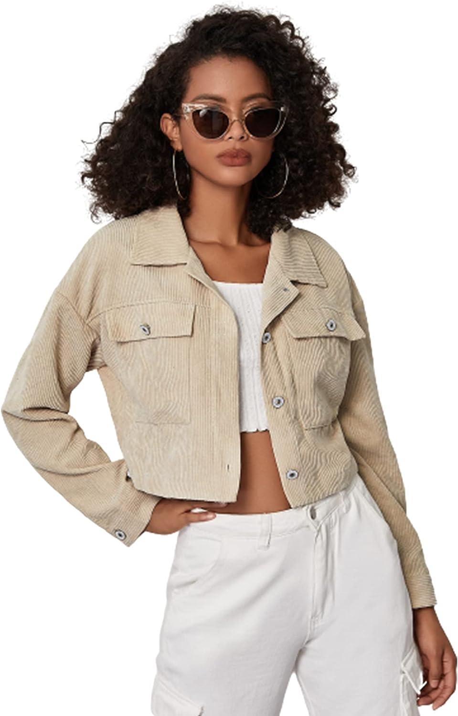 WDIRARA Women's Corduroy Button Front Long Sleeve Pocket Casual Crop Jacket