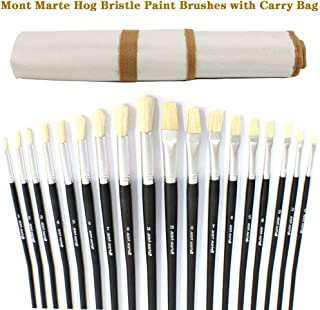 Mont Marte Premium Paint Brush Set 15 Piece, Includes 15 Different Brushes in a Roll Case with Magnetic Closure, Suitable for Watercolour, Acrylic and Oil Painting (18 Piece Hog Bristle Brushes)