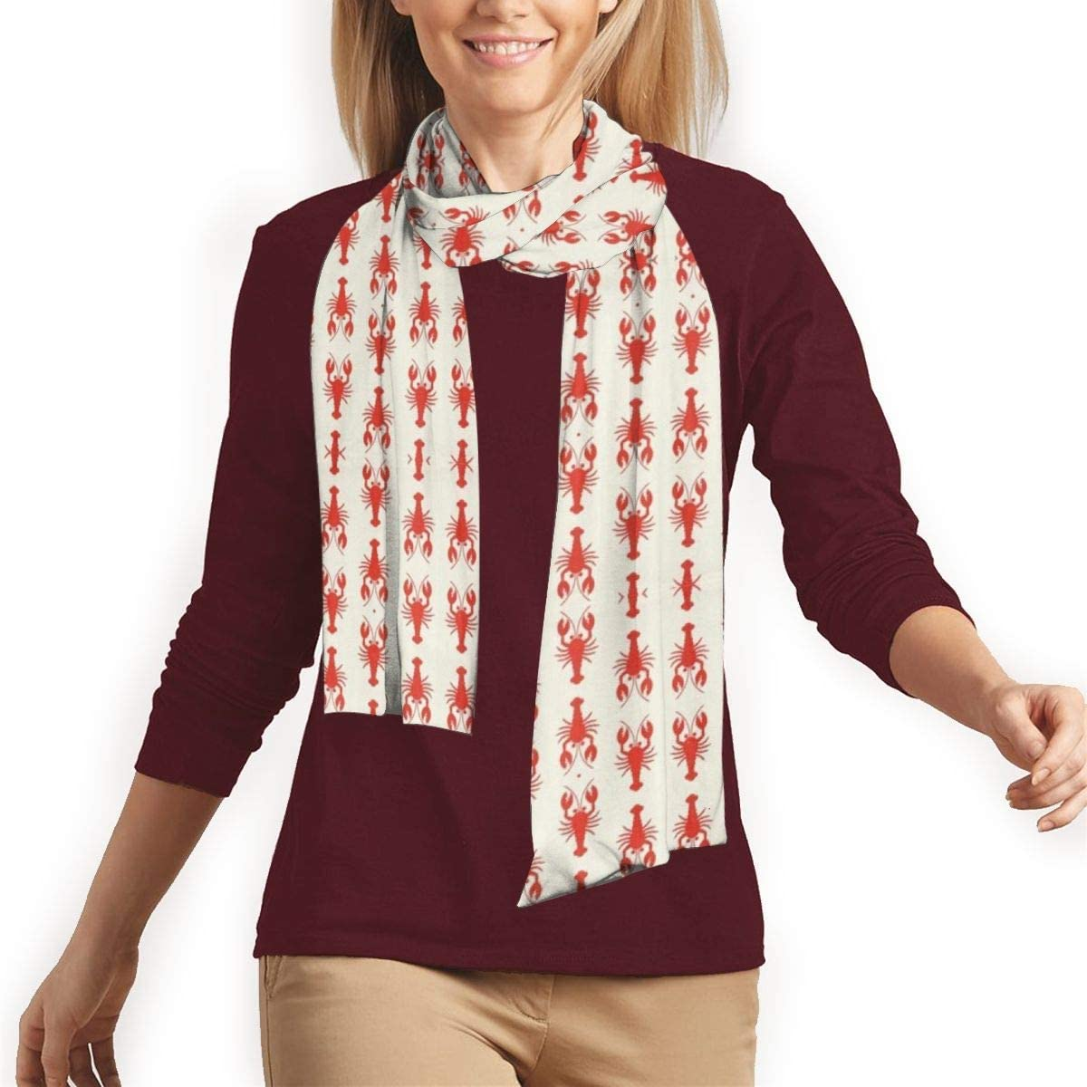 Womens Soft Cashmere Feel Pashmina Shawls Wraps Winter Scarf(Red Maple)