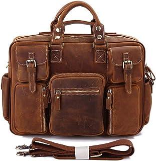 Men's Shoulder Bag Leather Men's Bag Vintage Crazy Horse Leather Tote Bag Men's Multi Pocket Tote Bag (Color : Brown-c)
