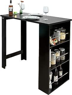 eSituro Tavolo da Bar Alto Bar Arredamento Penisola Cucina con Scaffale Struttura in Acciaio Nero SBST0402