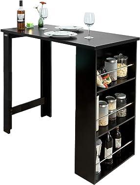 SoBuy FWT17-Sch Table de Bar Mange-Debout Table Haute de Cuisine avec 3 étagères de Rangement – Noir Dimensions : 112 x 106 x