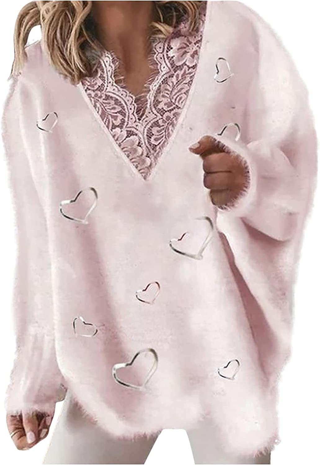 LISTHA V Neck Sweater Pullover Women Long Sleeve Knitted Blouse Casual Tops Jumper