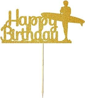 NN-BH Golden Flash Happy Birthday Cake Topper, Birthday Party Cake Decoration, Sports Theme Cake Topper (surf)