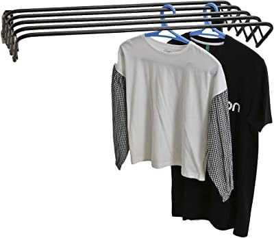 NHR Stainless Steel 5 Rods Foldable Wall Mounted Clothes Dryer/Cloth Drying Stand (Black)