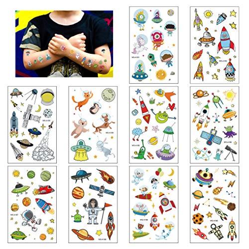 Tattoo Kinder, Weltraum Kinder Tattoo Set, 10 Bögen Süßes Raumfahrzeug Tattoos Aufkleber für Mädchen Jungen, Temporäre Tattoos für Kinder zum Geburtstag Mitgebsel Party Halloween Weihnachts