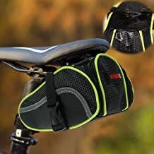 Ryhpez Bike Saddle Bag, Bicycle Bag Back Seat Pouch Mountain Bike Pocket Pack Waterproof Strap-on Seat Bag for Outdoor Night Safety Ride, Convenient with Reflective Stripes - Green