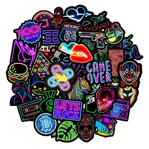 RGBEE Sticker Set 50 Stücke, Wasserfeste Aesthetic Aufkleber Vintage Sticker Klein Vinyl Neon Graffiti Aufkleber für Laptop MacBook Koffer Helm Motorrad Skateboard Auto Fahrrad Sticker Bomb