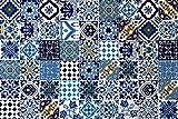 54 Mattonelle MISTE in ceramica smaltata. Pacco da 54 mattonelle decorate 10 X 10 cm spessore 0,6 cm - Mattonelle Tunisine. Serigrafia Artigianale. Adatte a rivestimento (Blue Marine)