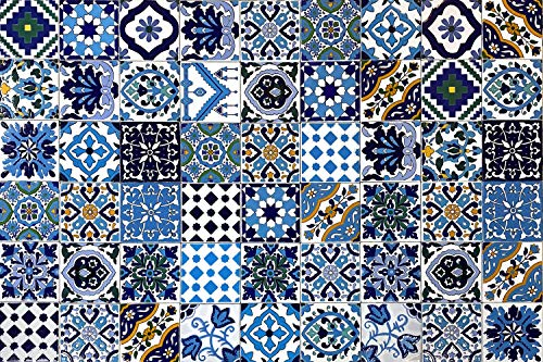 54 Mattonelle MISTE in ceramica smaltata. Pacco da 54 mattonelle decorate 10 X 10 cm spessore 0,6 cm -...
