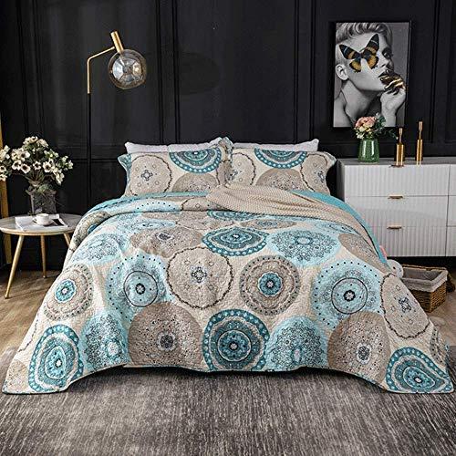 Colchas de cama doble tamaño Queen Juego de cama de 3 piezas Cómoda colcha acolchada de algodón Colcha fina de verano multifunción Funda de cama lavable para todas las estaciones 230x250cm + 2 fundas
