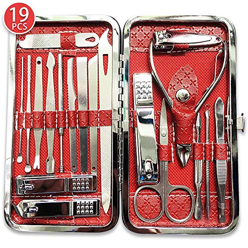 Select 19 pcs stainless steel nail scissors, Manicure suit, Professional manicure Set,Home or travel best choice (red).