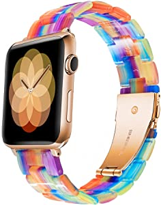 LINXUXIE Compatible with Apple Watch Bands 38mm/40mm,Resin Band Replacement Strap for Women Man with Stainless Steel Buckle for iWatch Series 6/5/4/3/2/1 Wristband (Rainbow 2G, 38/40mm)
