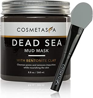 Dead Sea Mud Mask with Bentonite Clay, 8.8 oz, with Silicone Facial Mask Applicator Brush : Blackhead Remover & Pore Clean...