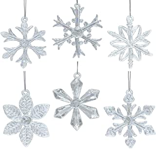 BANBERRY DESIGNS Snowflake Ornaments - Set of 6 - Iridescent Glass - Each One is a Different Snowflake Pattern - Boxed - 2.5