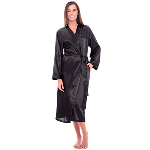 Alexander Del Rossa Womens Solid Colored Satin Robe 9ffe8f931