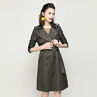 COAT Women's Handsome Tops - Lapel Waist with Double-Breasted Epaulettes Slim mid-Length Women's Trench for All Seasons.