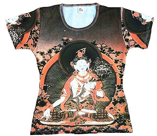 Ticila Damen T-shirt Marrone Bianco Tara Nepal Bhutan tipet Buddha Rose Corona d' arte Art Religione Star Designer Vintage Tattoo Design marrone 44/46