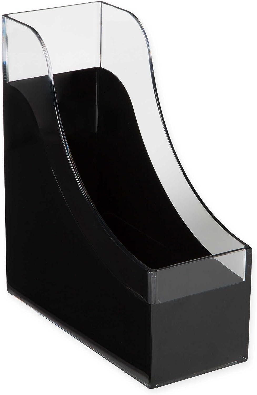 HomeCrate Modern Desk Organizer Magazine File Holder, Set of 4 - Clear Black