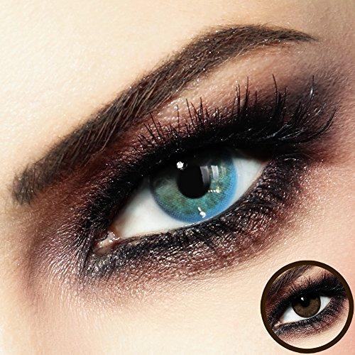 Farbige PREMIUM Kontaktlinsen - CALYPSO Blue-Beige - Silikon Hydrogel - Monatslinsen von LUXDELUX® - No.9