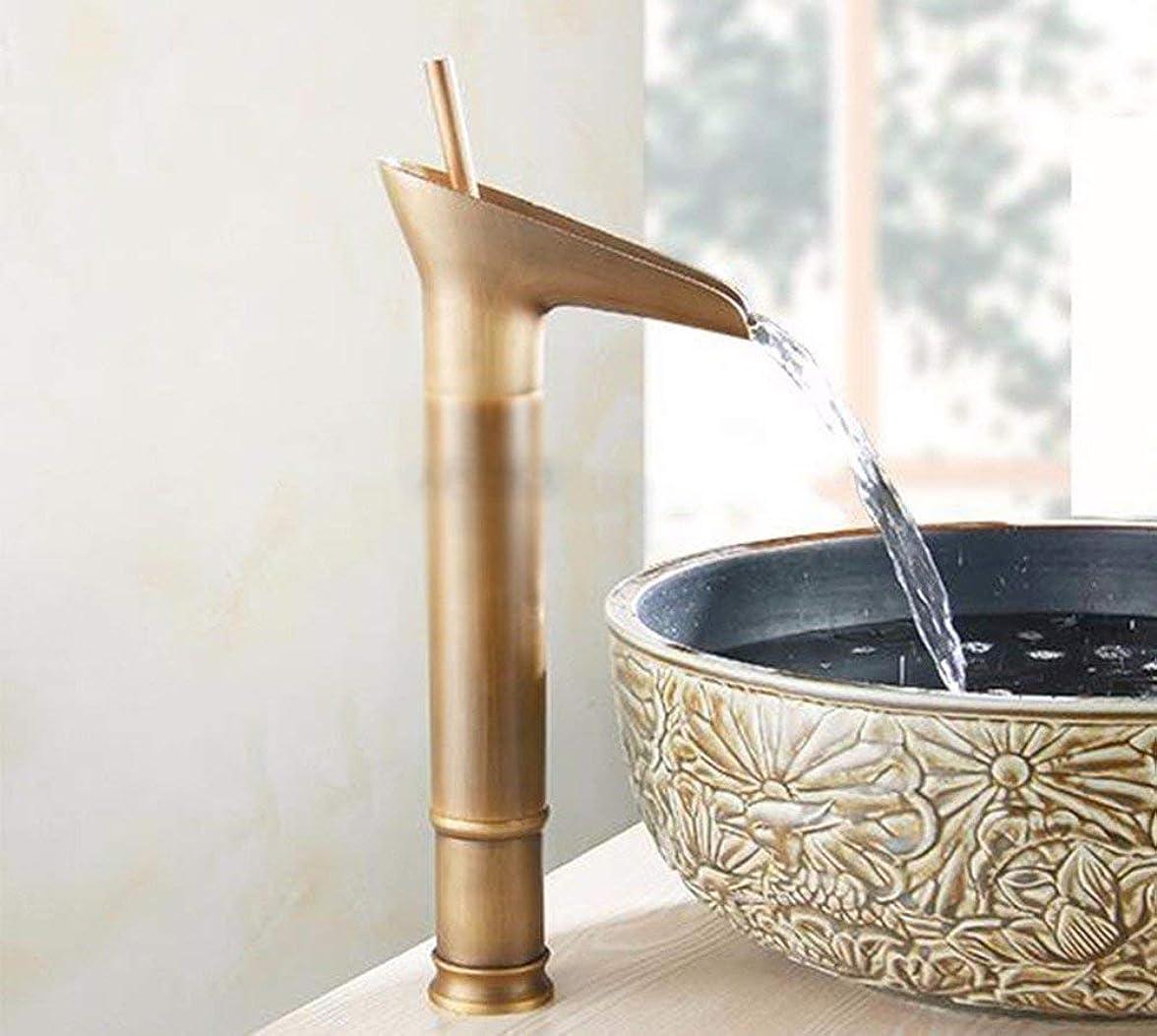 電信地上で文明銅のバスルームWCの滝温水と冷水を上げた蛇口
