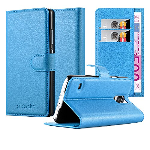Cadorabo Hülle für Samsung Galaxy S5 / S5 NEO - Hülle in Pastel BLAU – Handyhülle mit Kartenfach & Standfunktion - Hülle Cover Schutzhülle Etui Tasche Book Klapp Style
