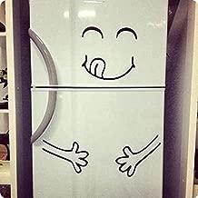 Decal Vinyl Fridge Cute Happy Yummy Face Full Stomach Silhouette Art Decor Refrigerator Sticker DIY Mural Free Random Gift! SK650