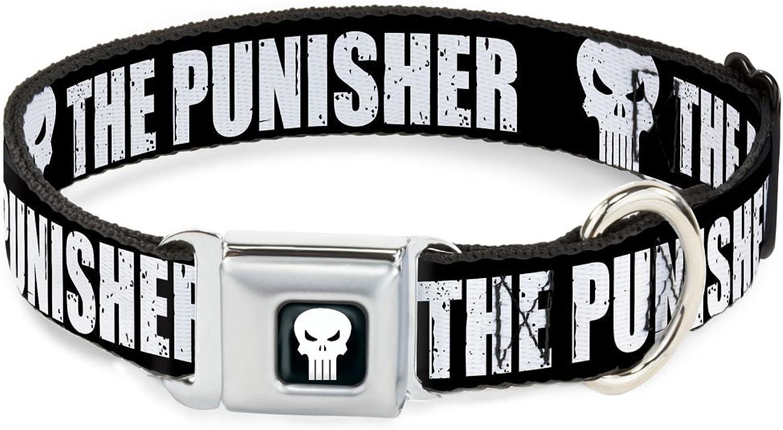 BuckleDown DCWPS012L Dog Collar Seatbelt BuckleThe Punisher Bold with LogoBlack White, 1  x1526