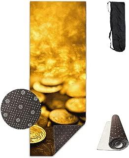 Deglogseccce Estera de Yoga, Suitable as a Yoga, Pilates and Camping Mat Gold Coins Art Style Deluxe Yoga Mat Aerobic Exercise Pilates 180cm x 61cm