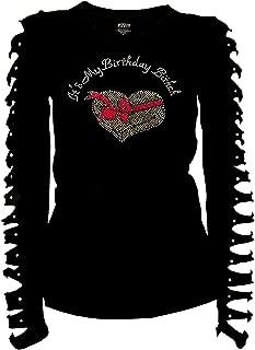 Fashion2ne1 It's My Birthday Bitch Bling Rhinestones Birthday T-Shirt Ripped Cut Out Long