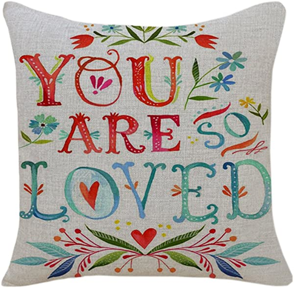 PSDWETS Home Decor You Are SO Loved Flower Pillow Covers Cotton Linen Throw Pillow Case Cushion Cover 18 X 18 Mom Gifts Mom Birthday Gifts