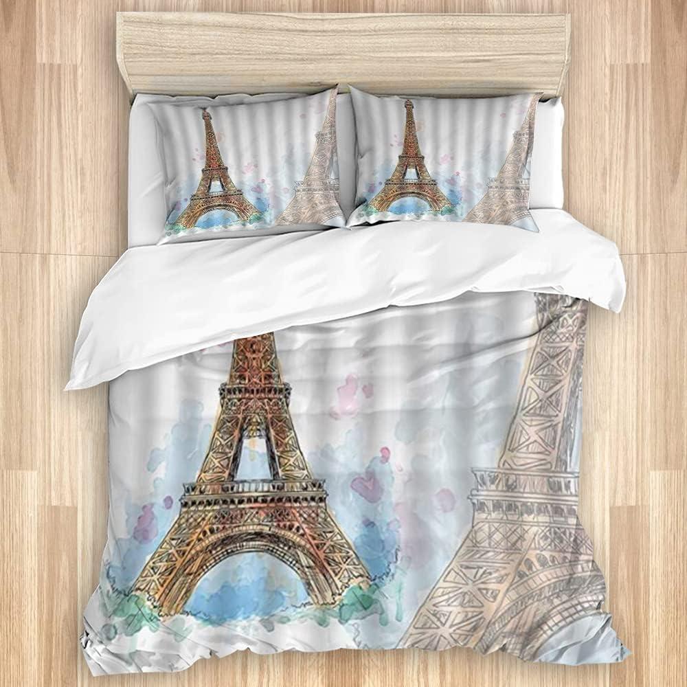 EILANNA Washed Duvet Cover Set Tower Eiffel Lan Max 68% Ranking TOP19 OFF Paris Watercolor