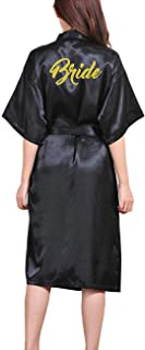 Lovacely Women's Satin Kimono Robe for Bride Bridesmaid Wedding Party Long Robes with Pockets & Gold Glitter Dressing Gown