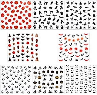 URATOT 16 Sheets Halloween Nail Decals Stickers Art Self-Adhesive Stickers for Halloween Party Nail Salon