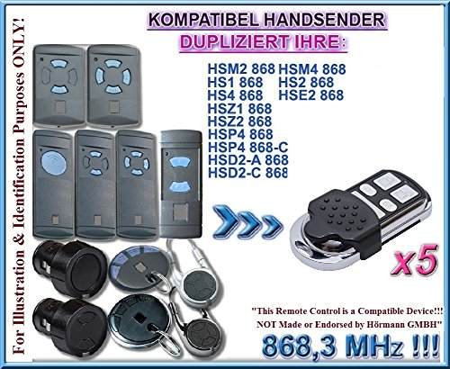 5 X Hörmann HSM2, HSM4, HS1, HS2, HS4, HSE2, HSD2, HSP4, HSZ1, HSZ2 compatibel handzender, klone afstandsbedieningen, 868.3Mhz. 5 stuks. (Niet compatibel met BS BiSecur afstandsbedieningen)