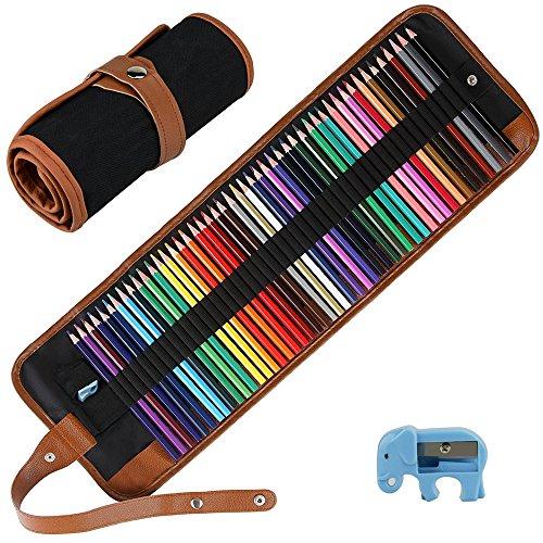 Intsun - Set di 50 matite colorate, kit da disegno con sacchetto di tela arrotolabile portatile, ideale per adulti, artisti, schizzi e bambini (custodia, matite colorate e temperamatite inclusi)